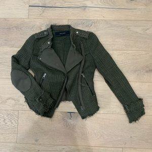 Zara Army Green Tweed Moto Jacket